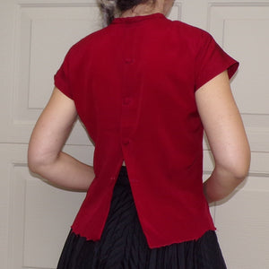 RUBY RED BLOUSE back button shell rita straus S 34 (A3)