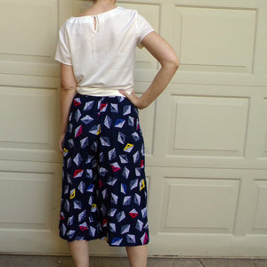 1990's CROPPED WIDE LEG high waist pants 90's S (G8)
