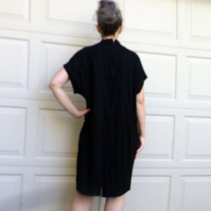 BLACK JERSEY 1980's sack DRESS 80's knit M L xl