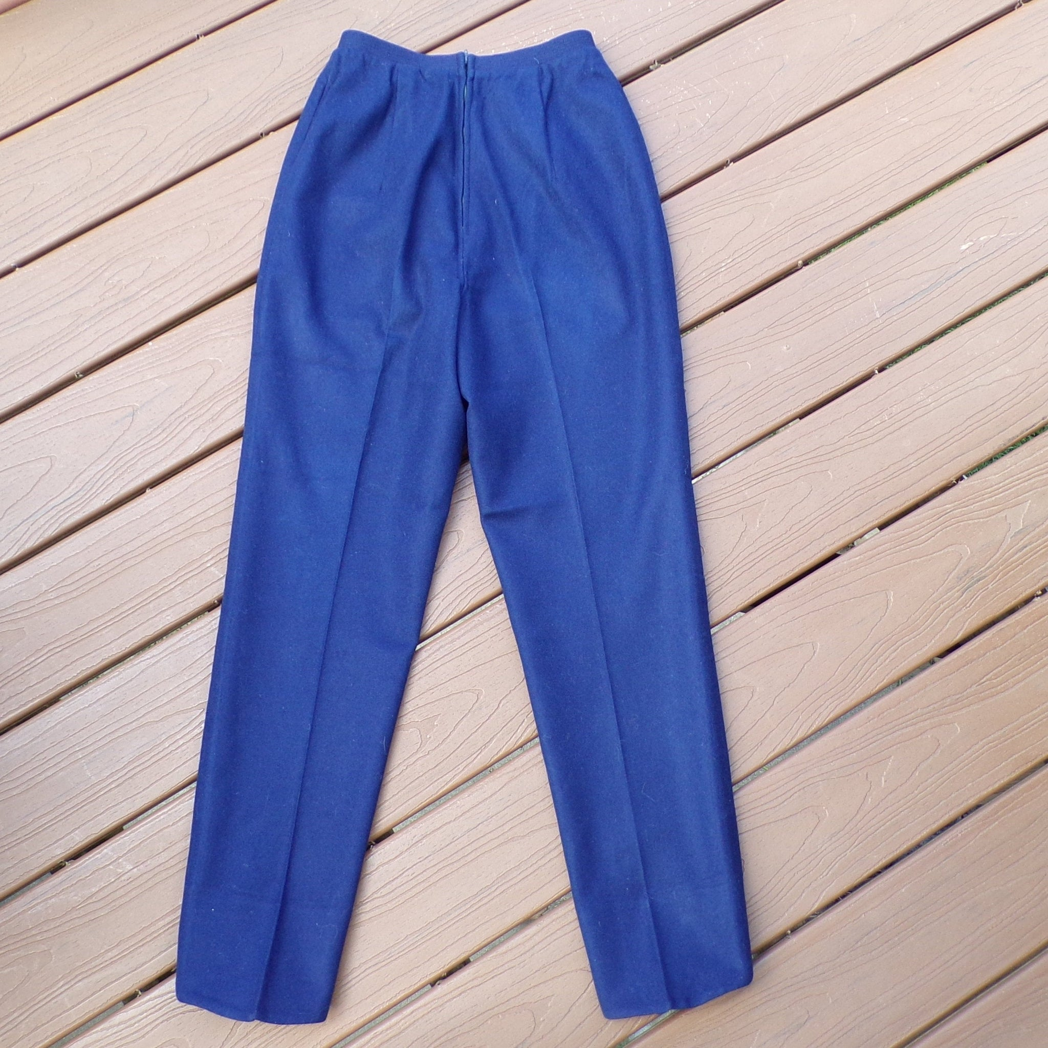 dark navy KORET WOOL PANTS blue tapered high waist S (A9)
