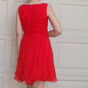 tomato red MISS ELLIETTE DRESS 1960's party M (A10)