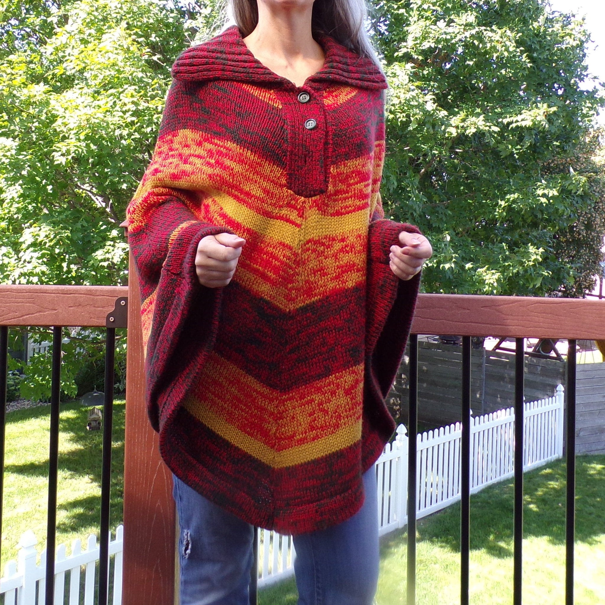 STRIPED autumn colors SWEATER PONCHO acrylic pullover S M