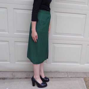 DARK GREEN 1940's 40's SKIRT mid length rayon xxs xs (A9)