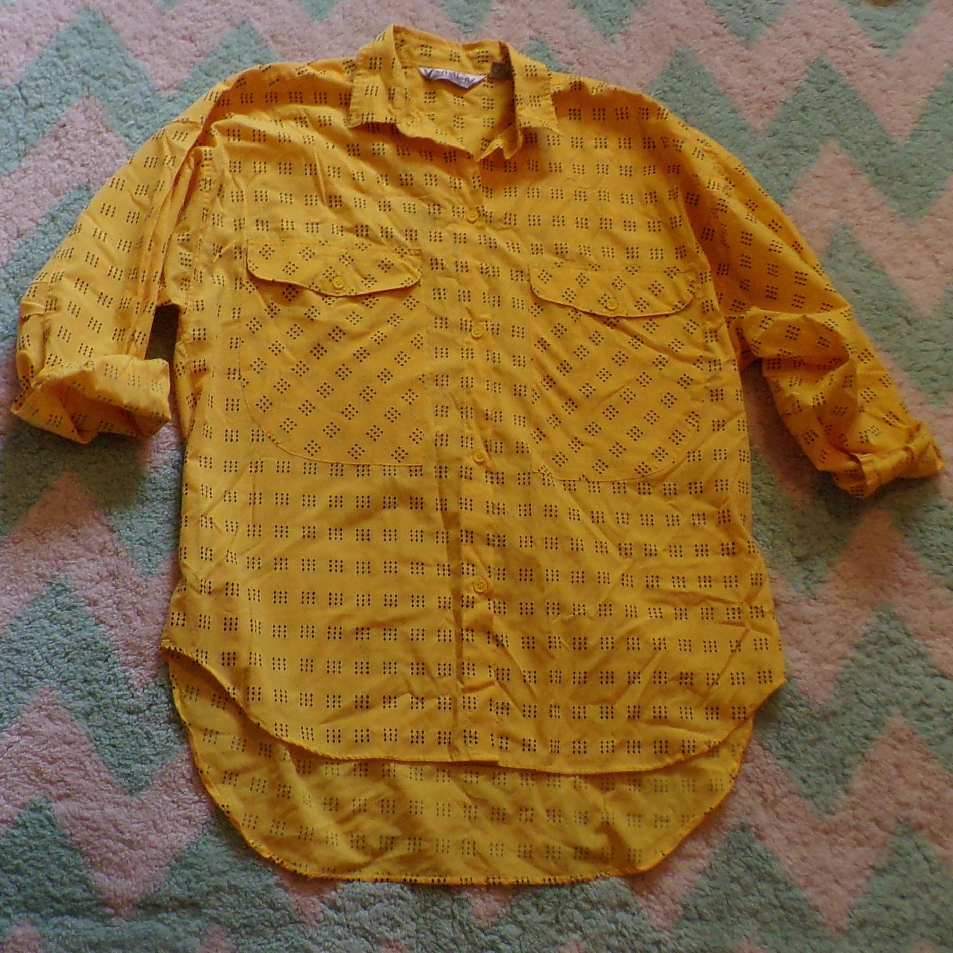 1980's OVERSIZED button up BLOUSE 80's SHIRT M L (H3)