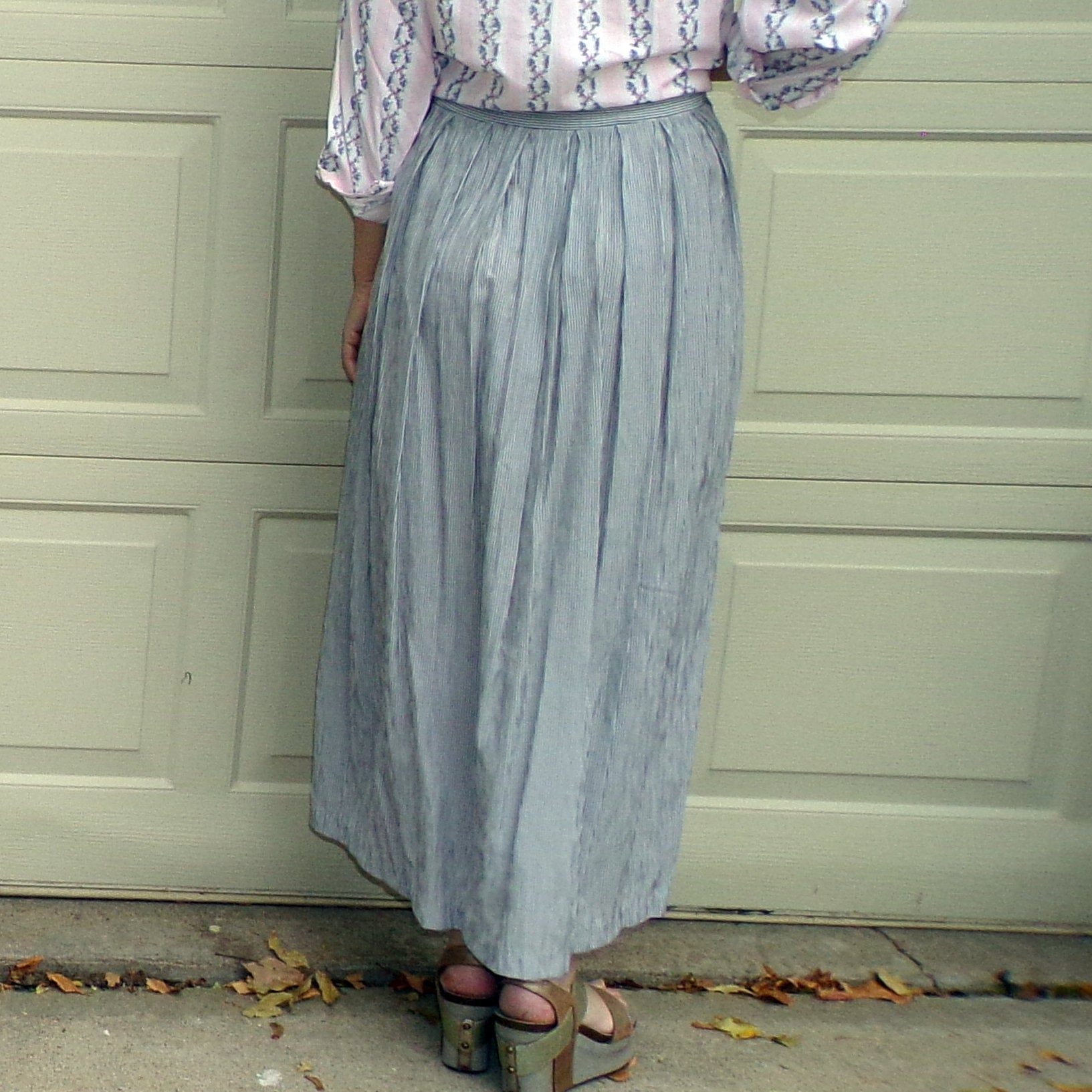 EXPRESS MAXI SKIRT 1990's 90's mini stripe M (H7)