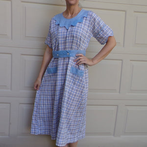 1930's COTTON DAY DRESS 30's M (B9)