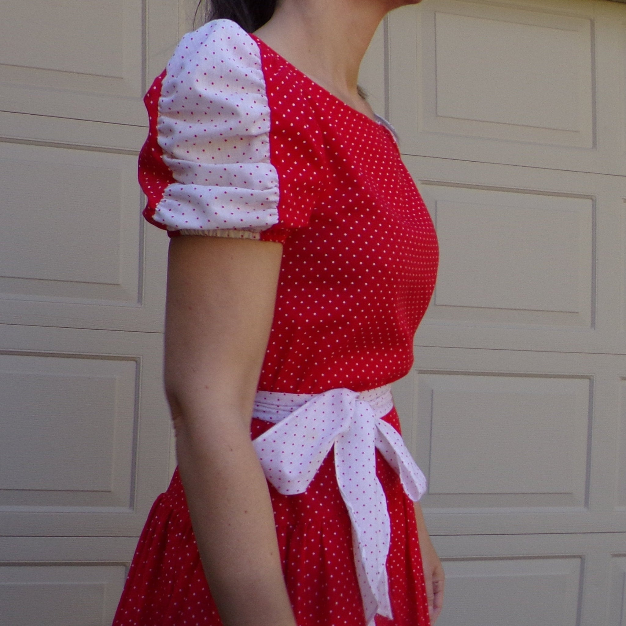 1980's RED WHITE PINDOT voile dress S 80's (G7)