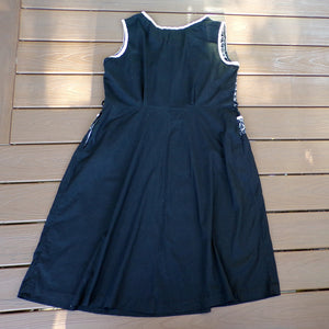 1950's SLEEVELESS DAY DRESS black and white xl volup 41 waist (H9)