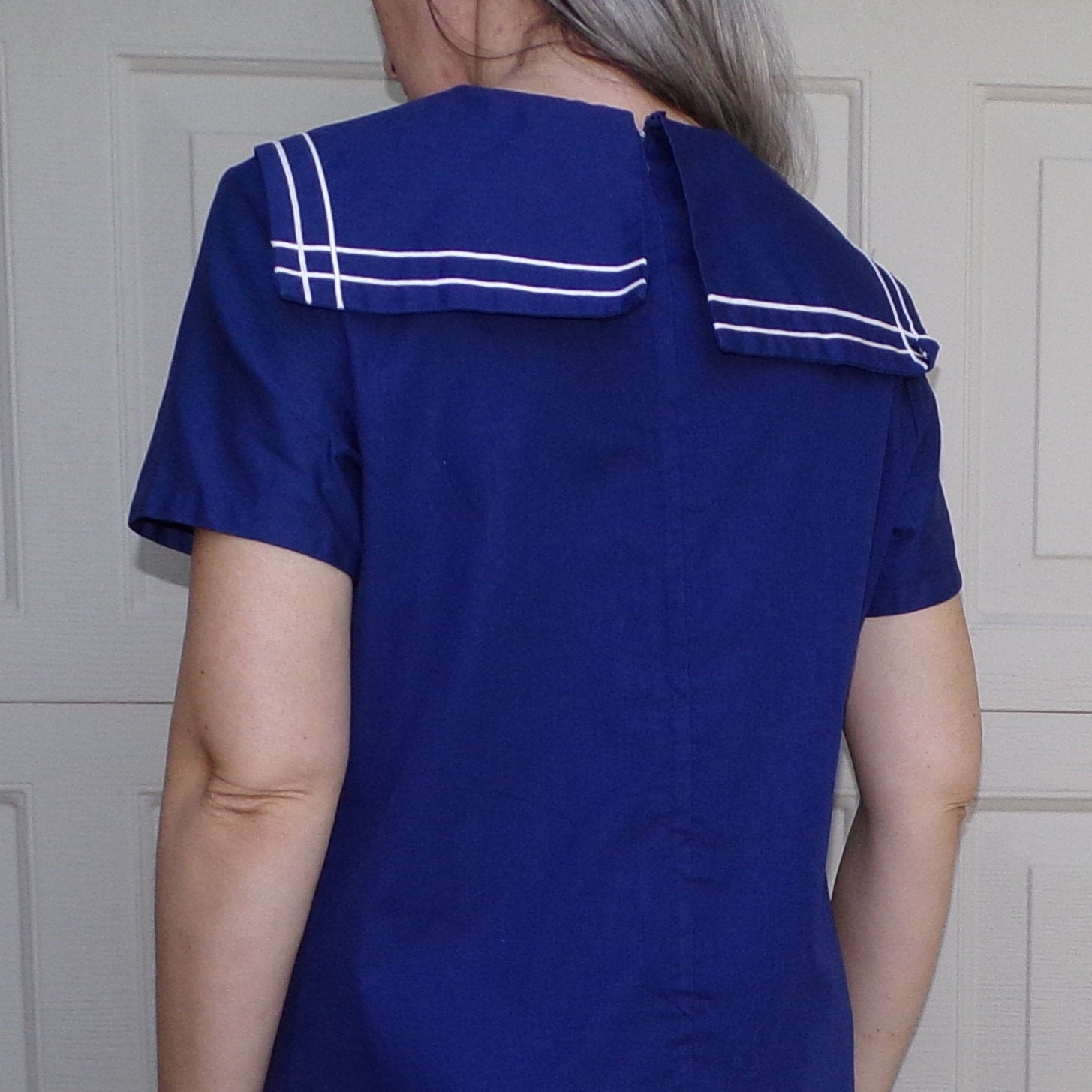 1960's NAUTICAL SAILOR DRESS 60's shift middy S M (G3)
