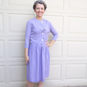 lovely LILAC SKIRT SET with jacket 1950's 1960's rayon S (J5)