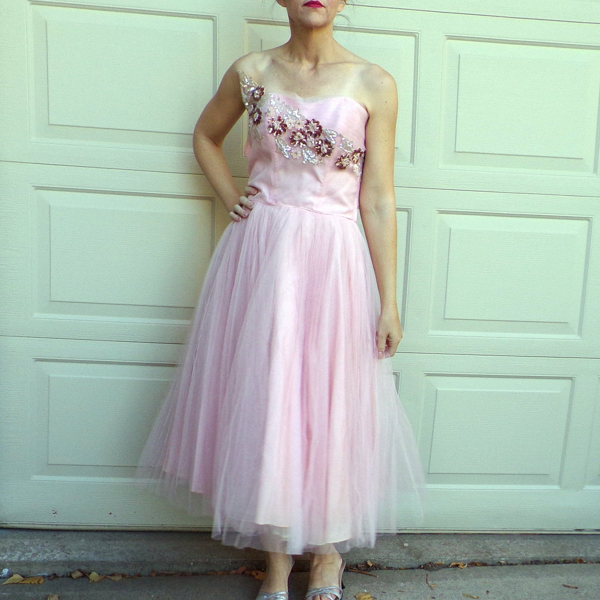 "fred perlberg PINK CUPCAKE DRESS 1950's 50's strapless party 29"" waist (E9)"