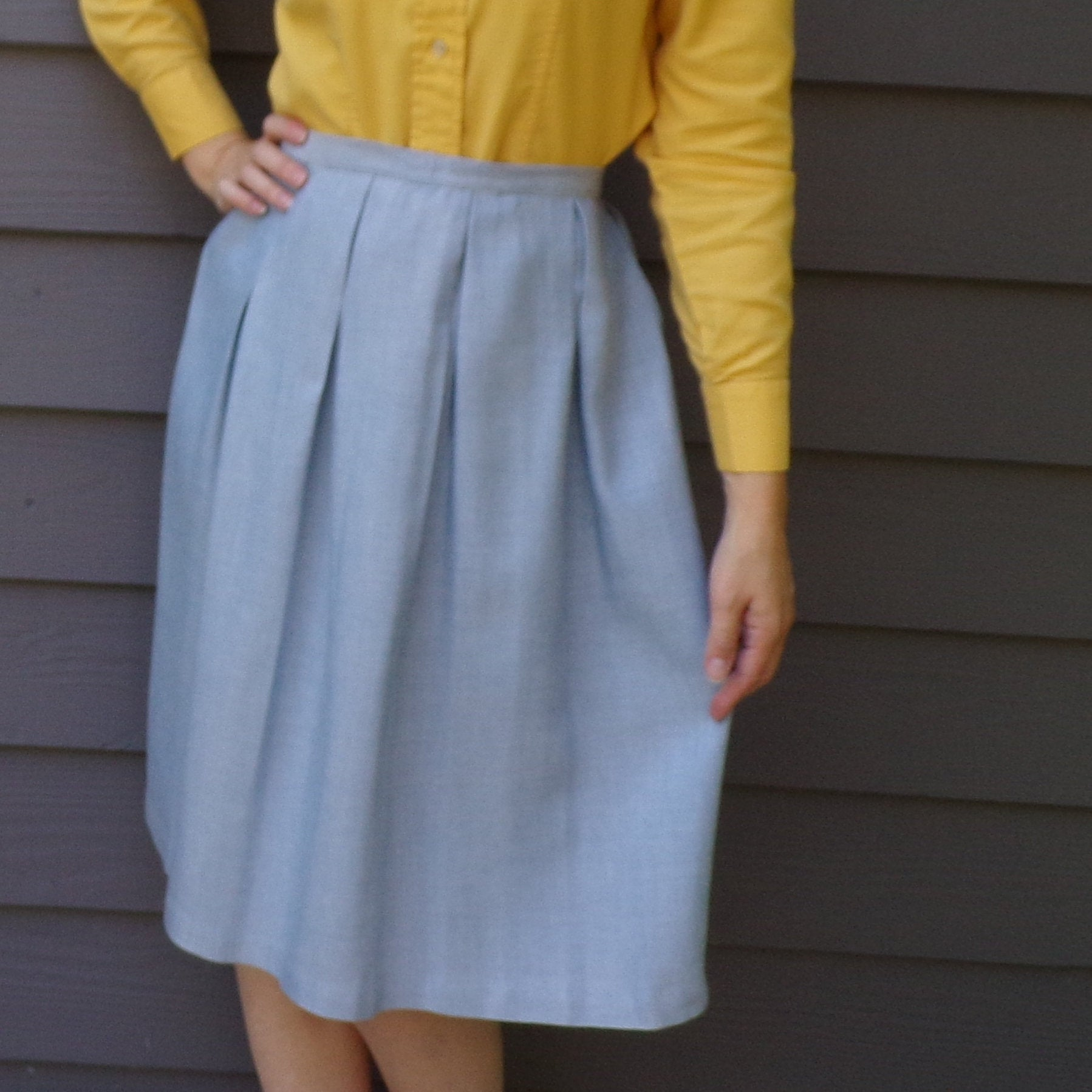 lovely CHAMBRAY SKIRT SET with jacket 1950's 1960's S M (K10)