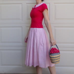 1950's RED and WHITE striped DRESS 50's cotton xs 26 waist (E6)