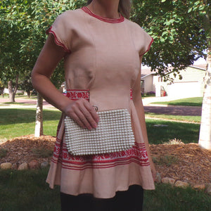 VINTAGE PEPLUM TOP cream and red xs xxs (H5)