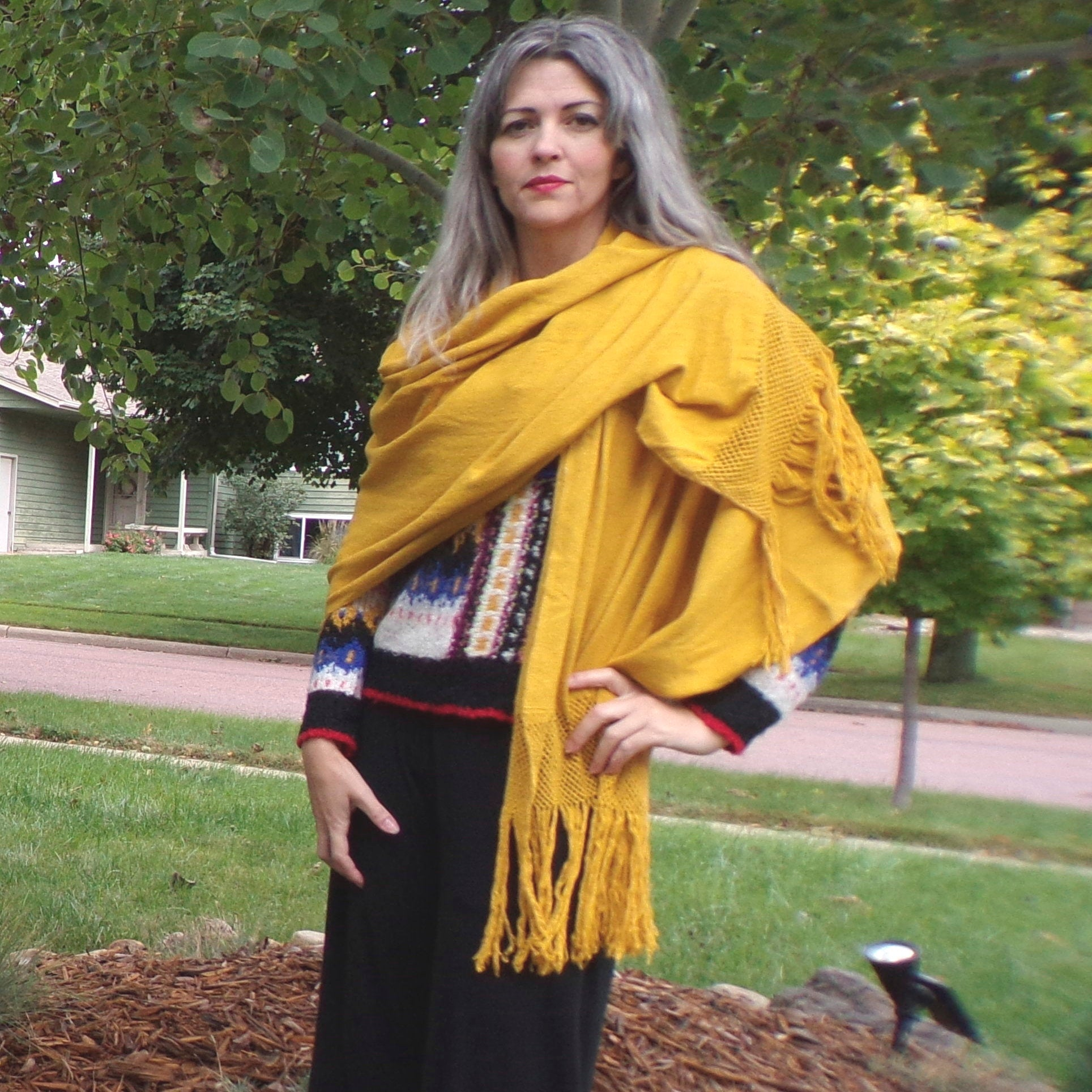 GOLDENROD WRAP SCARF natural cotton weave (G8)