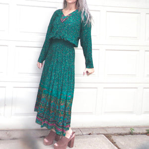 CAROLE LITTLE MAXI dress boho teal rayon S M (E10)