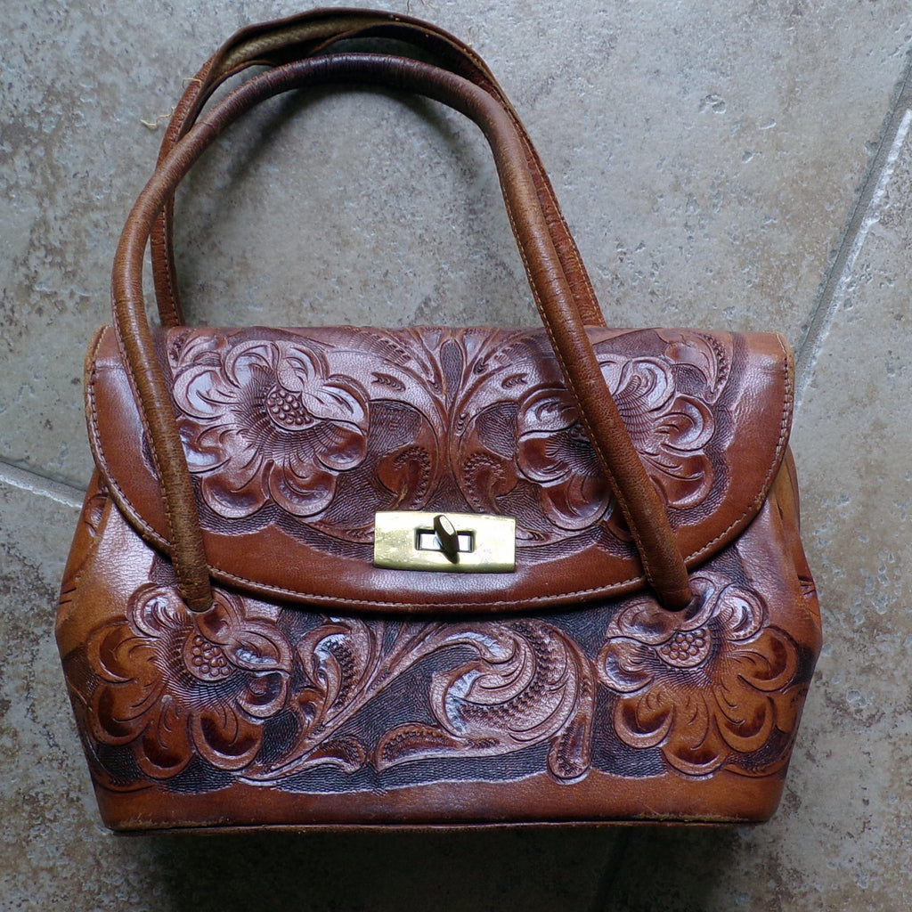1940's TOOLED LEATHER HANDBAG 40's purse (J8)