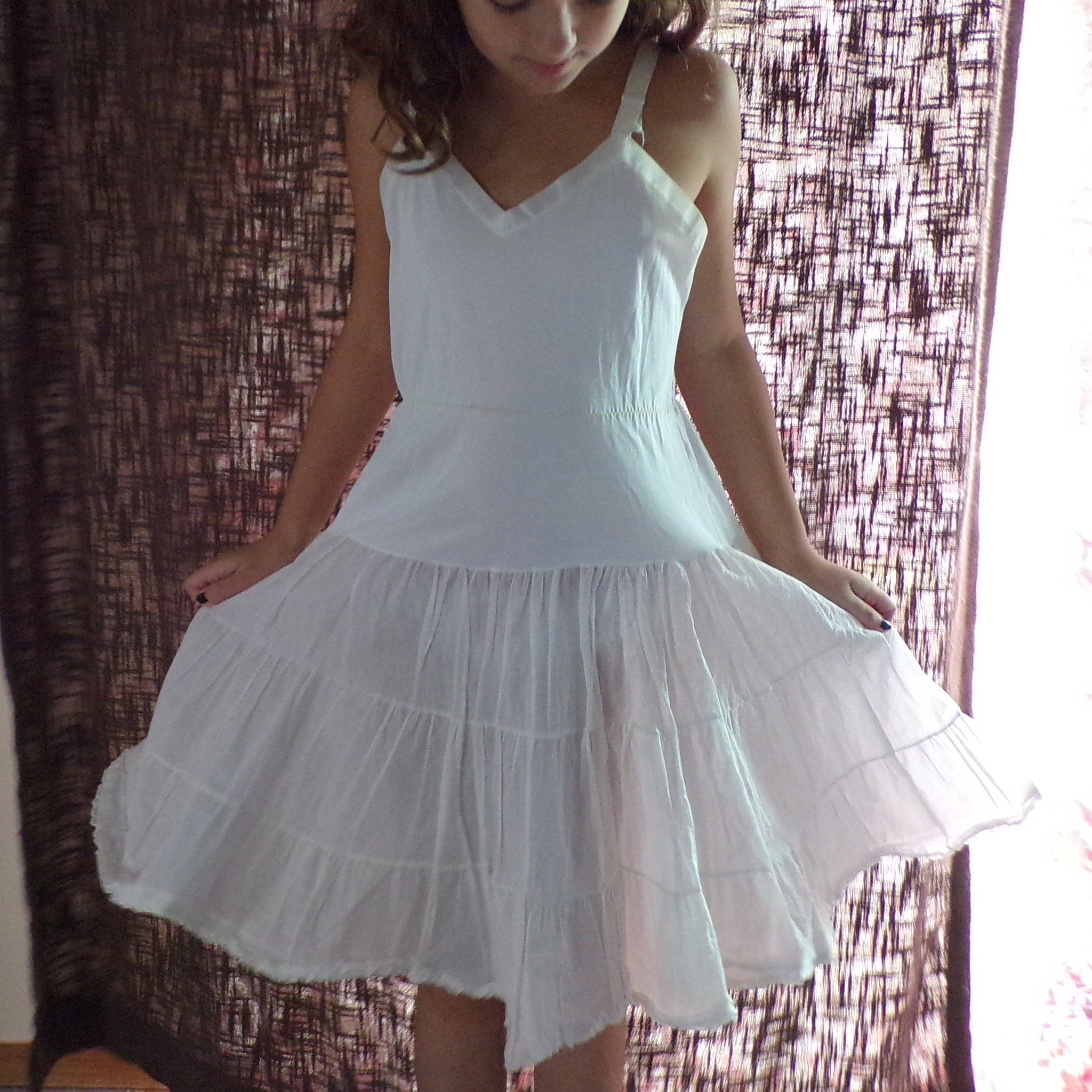 sheer GIRLS VINTAGE DRESS 1950's 50's (B9)