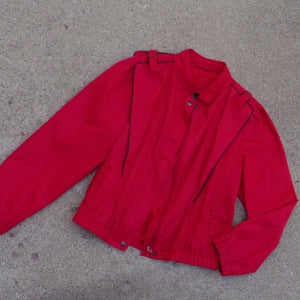 red 1980's WINDBREAKER JACKET 80's S M (F9)