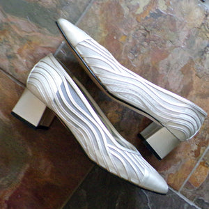 1980s 1990s SILVER MESH PUMPS low block heels silver 8.5 (E5)