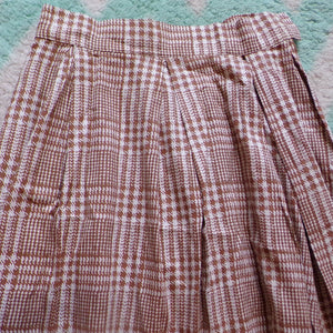 1950's 1960's COTTON FULL SKIRT plaid S M (D8)