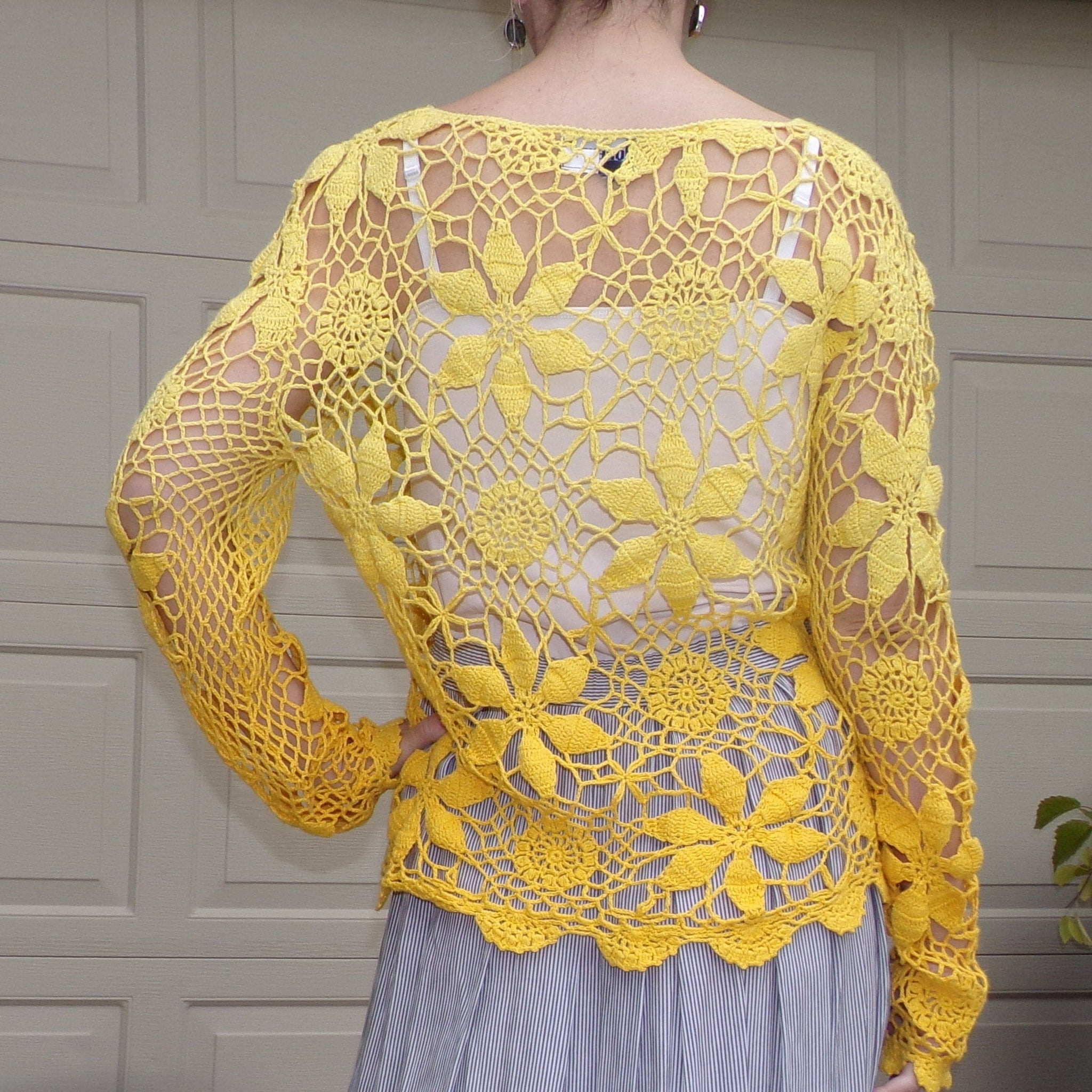 1990's YELLOW COTTON CROCHET sweater 90s top M (D8)