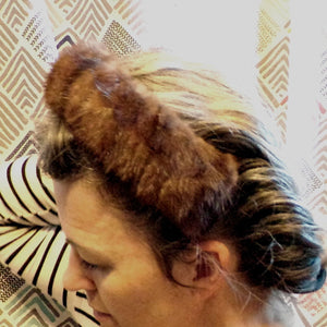 MINK HAIRPIECE head piece HEADBAND fur 1950s 50s (K3)