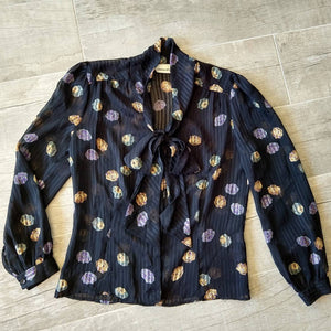 UMBRELLA PRINT BLOUSE sheer black novelty S M (G2)