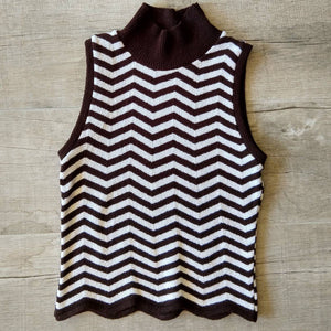 ZIG ZAG STRIPE 1990s 90s sleeveless sweater xs S (G2)