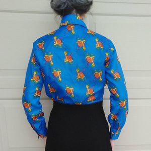 1970s SILKY TURTLE BLOUSE 70s shirt top S (K4)