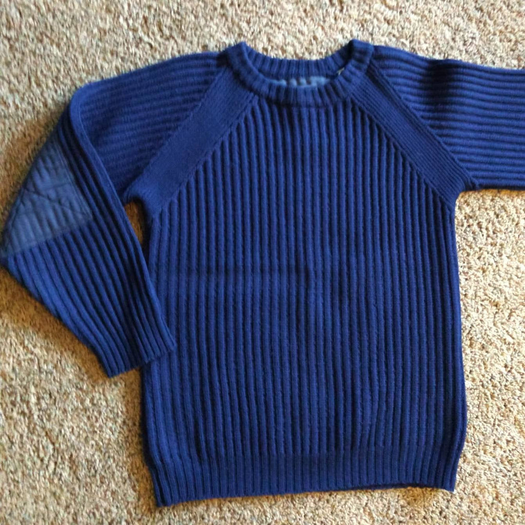 TOMMY HILFIGER shaker knit wool SWEATER navy blue