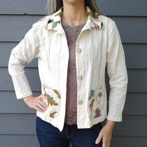 COTTON JACKET with CREWELWORK details 90s 1990s S (J3)