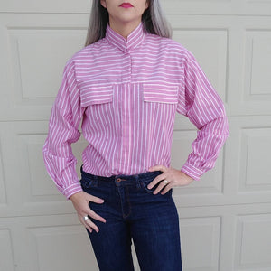 PINK STRIPED CHAMBRAY blouse 1980s 80s S (B8)