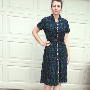 1940s 1950s BRENTWOOD DAY DRESS black cotton zip front S M (E10)