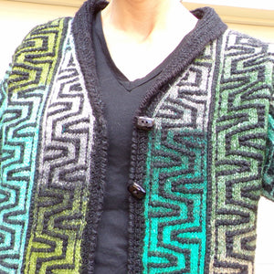 VINTAGE COLORFUL CARDIGAN sweater knit jacket S M (J1)