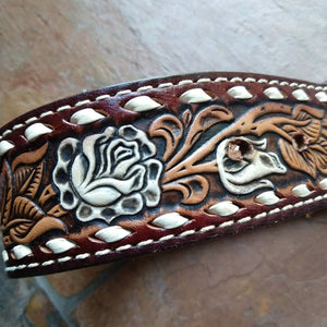 TOOLED LEATHER BELT with buck hunter metal buckle (K5)
