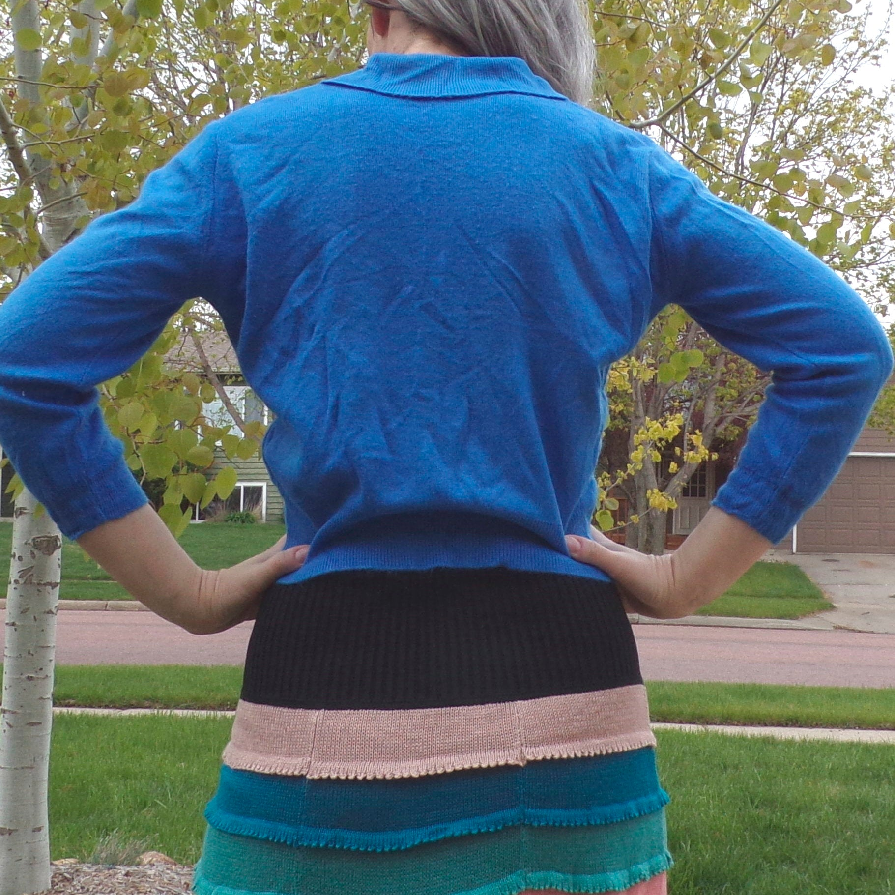 super soft BRIGHT BLUE 1960's SWEATER 60's S (F7)