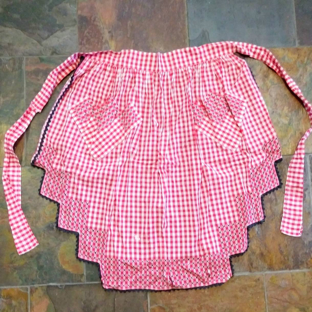 1940s 40s COTTON KITCHEN APRON mixed pattern (K3)
