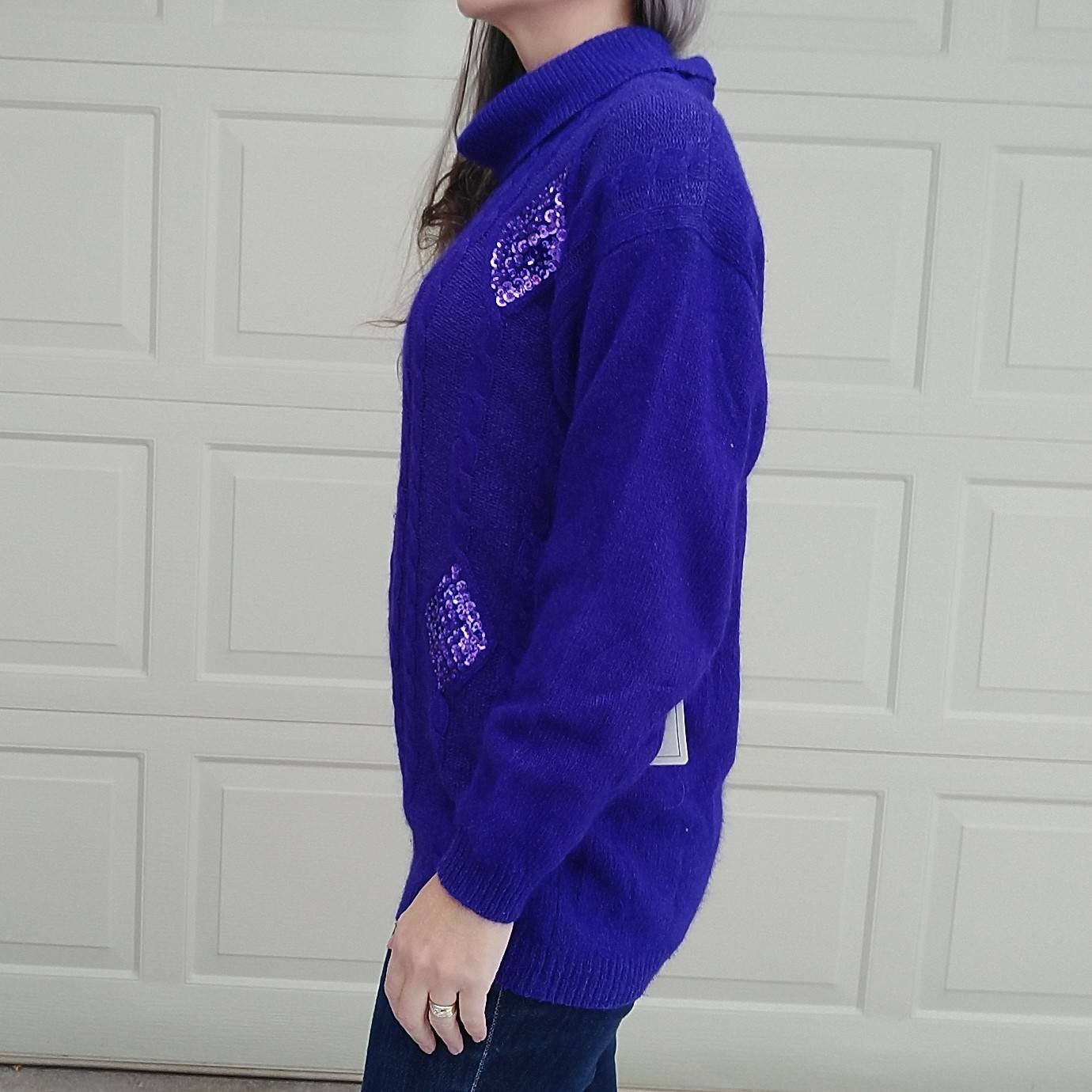 deadstock 1990s PURPLE TURTLENECK SWEATER 90s S M (K5)
