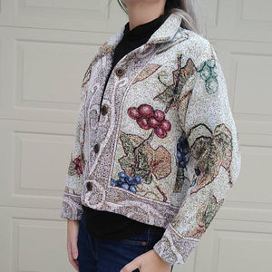 CHENILLE TAPESTRY JACKET 1990s 90s S M (K5)