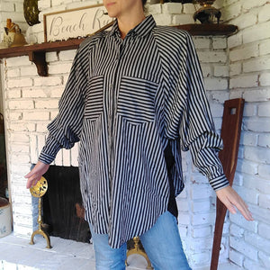 OVERSIZED LAYERED-LOOK 1980s blouse striped M L (G2)