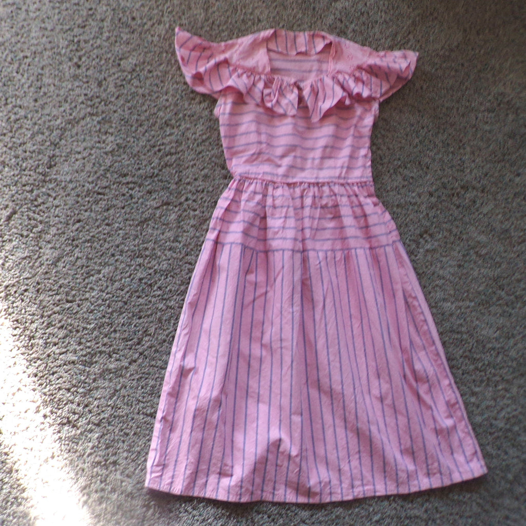 1940's COTTON DAY DRESS 40's pink striped xs (D2)