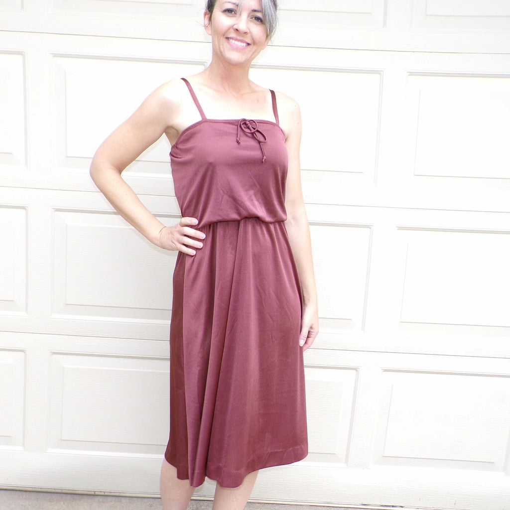 SLINKY DISCO era DRESS brown sateen S (F6)