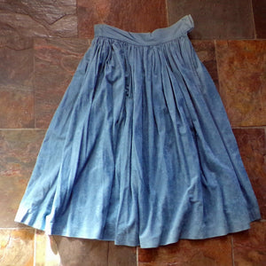 smoky blue FAUX SUEDE SKIRT fall midi S xs (F6)
