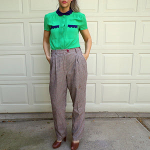 1980s HOUNDSTOOTH CHECK PANTS trousers 80s 6 (E3)