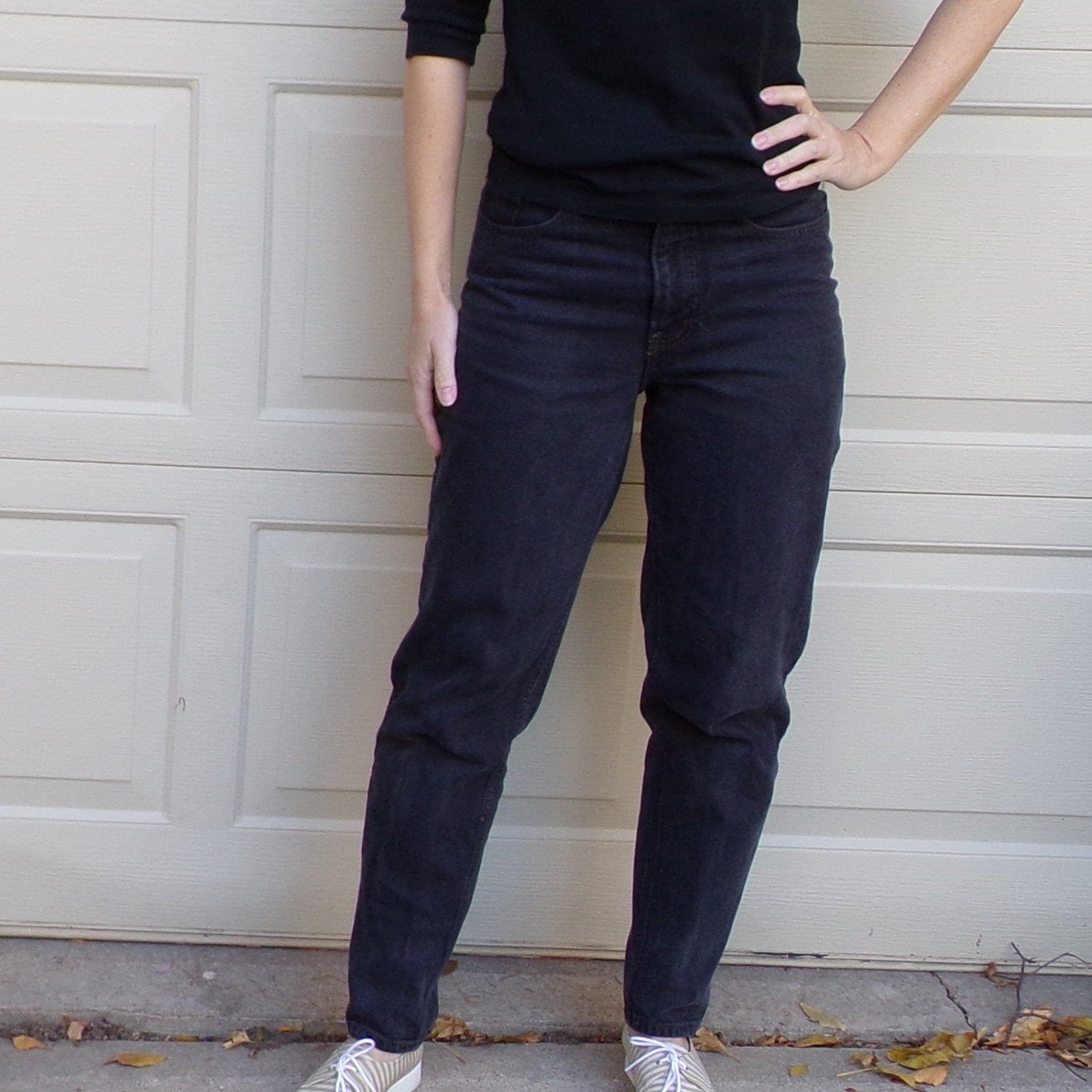 ESPRIT HIGH WAISTED jeans light black rise 80's 90's S (K2)