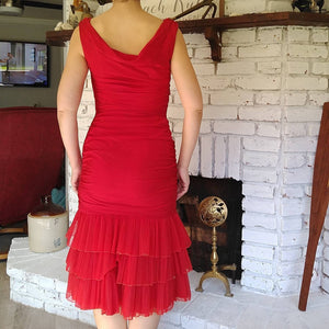 LIPSTICK RED WIGGLE dress 1950s 1960s S (K4)