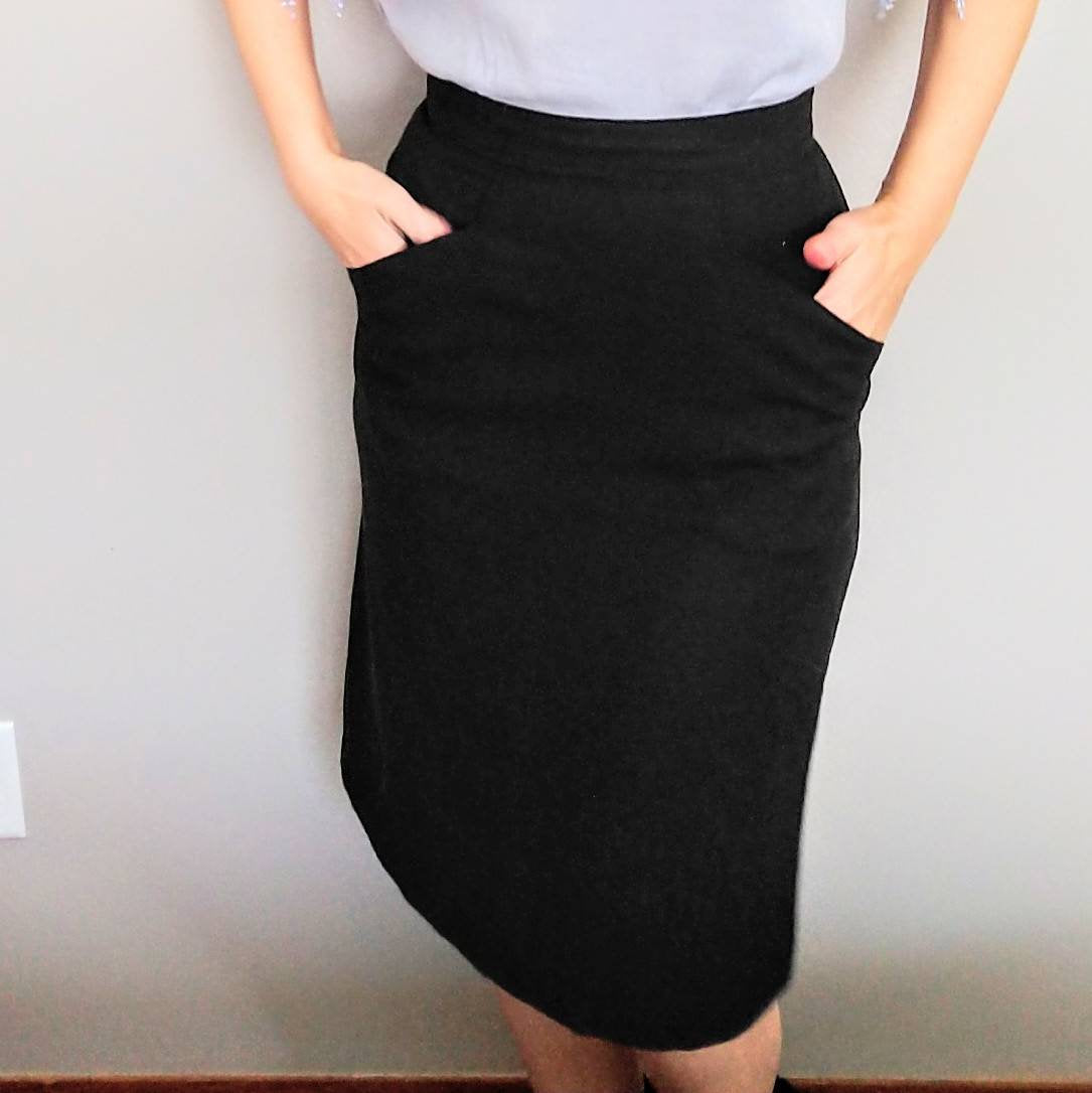 WOVEN black PENCIL SKIRT high waist S (D10)