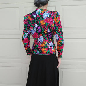 bright FLORAL SILK JACKET 80s 90s S (K4)