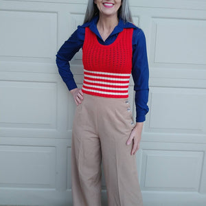 VINTAGE SWEATER VEST cropped red knit 1970s 70s xs (K4)